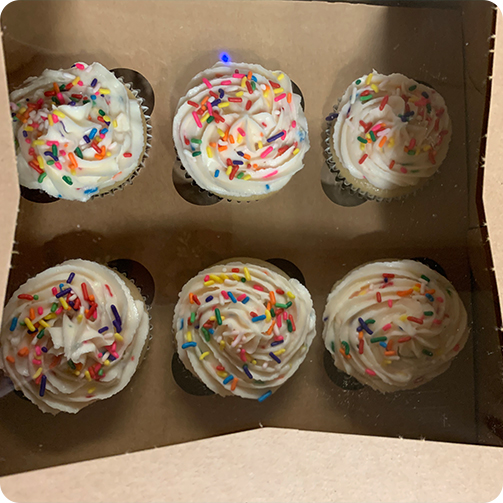A box of cupcakes delivered to the hospital