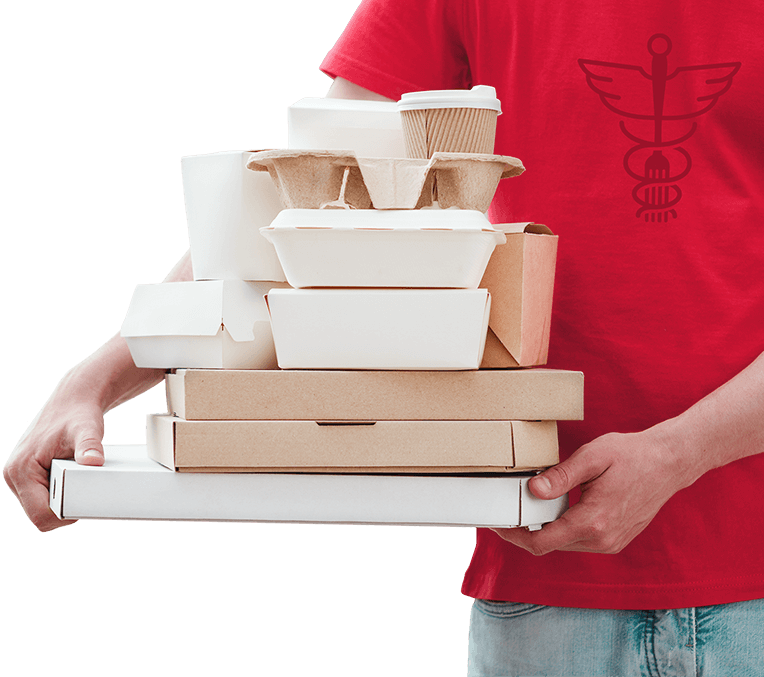 A food delivery worker holding a stack of takeout containers